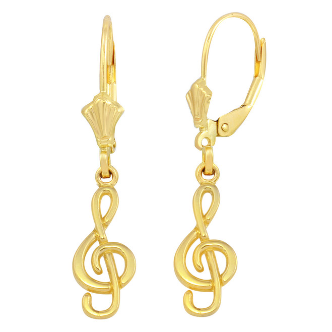 Yellow Gold Treble Clef Musical Symbol Earring Set