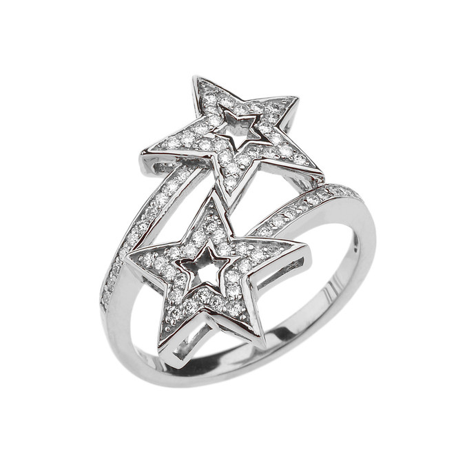 White Gold Double Star Fancy Anniversary Ring
