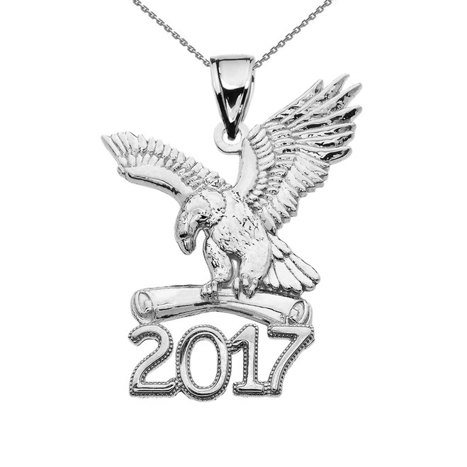 Sterling Silver Class of 2017 Graduation Eagle Holding Diploma Pendant Necklace