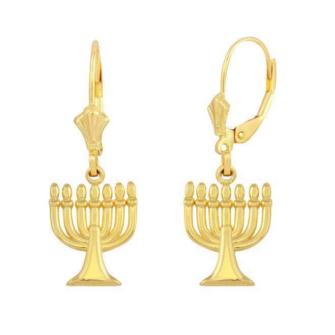 Yellow Gold Israel Jewish Hanukkah Menorah Earring Set