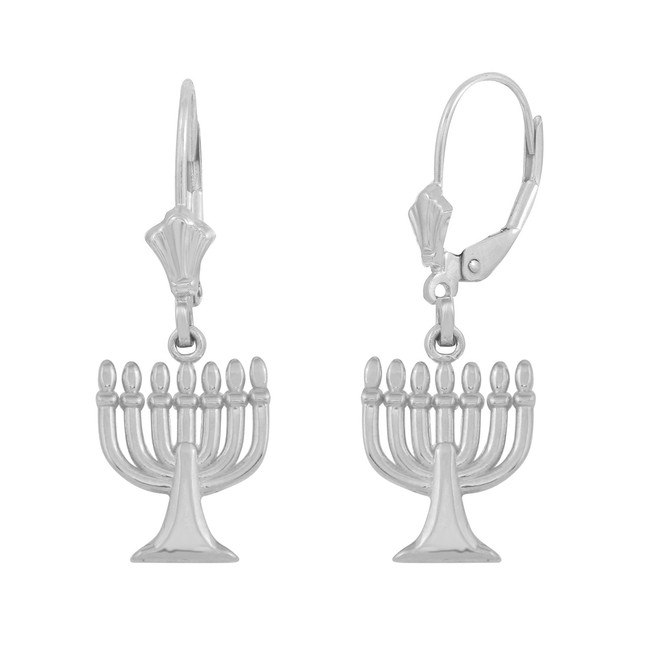 14K White Gold Israel Jewish Hanukkah Menorah Earring Set
