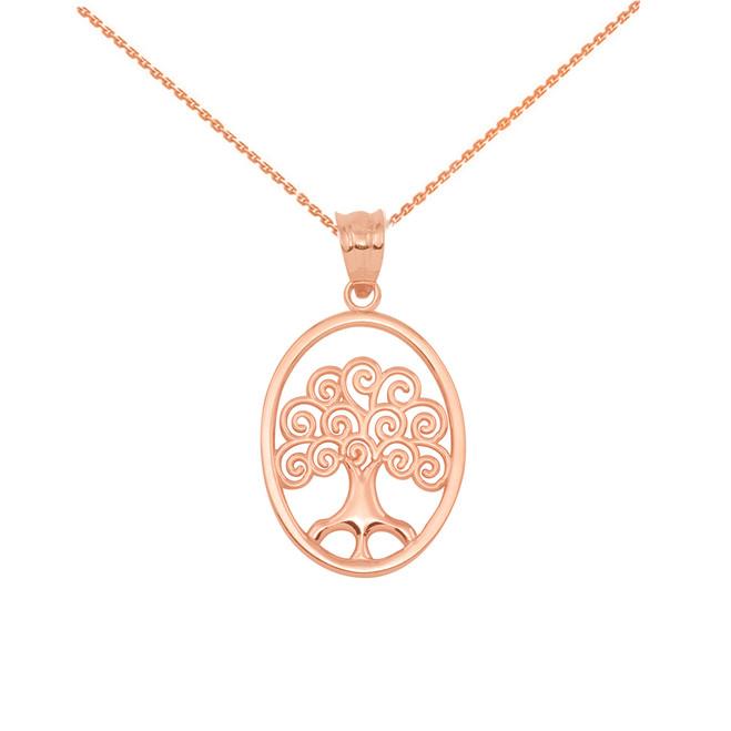 Rose Gold Tree of Life Filigree Swirl Celtic Pendant Necklace