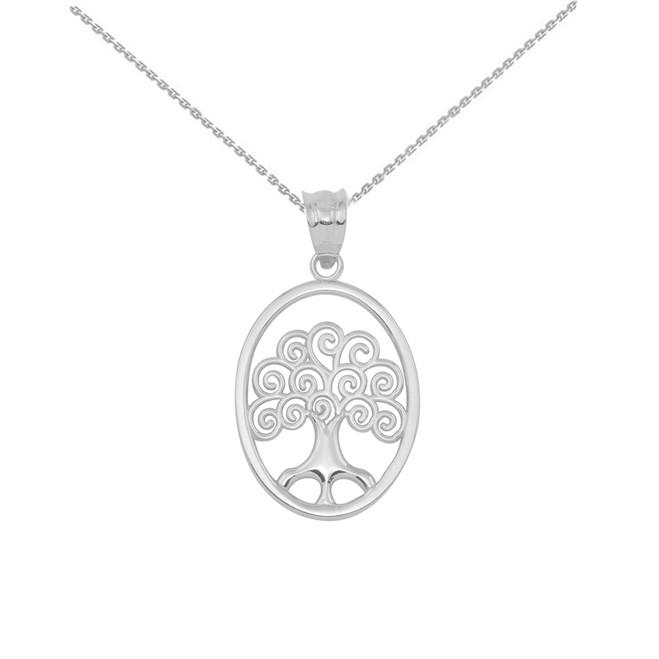 White Gold Tree of Life Filigree Swirl Celtic Pendant Necklace