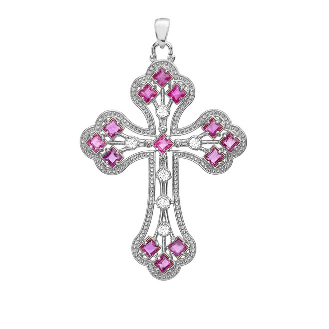 White Gold Fancy Cross Pendant Necklace With Gemstone and Diamonds