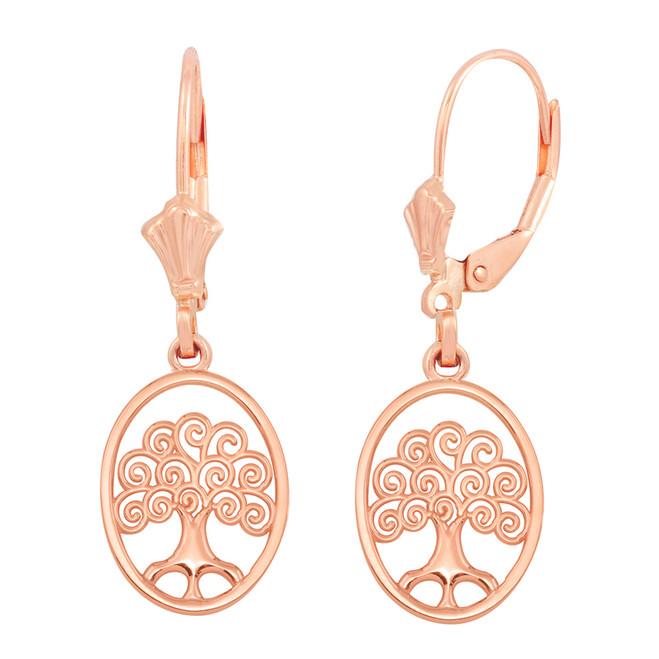 14K Rose Gold Tree of Life Filigree Swirl Celtic Earring Set