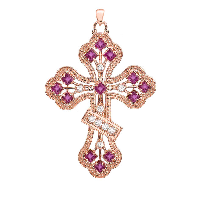 Rose Gold Fancy Cross Diamond Pendant Necklace With Gemstone