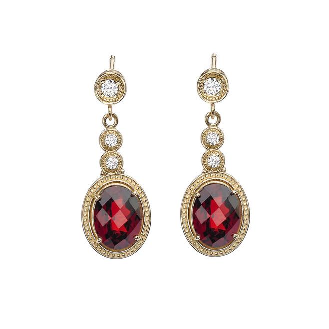 Yellow Gold Diamond and Garnet Earrings