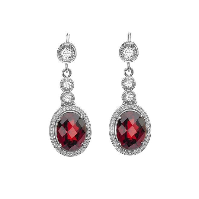 White Gold Diamond and Garnet Earrings