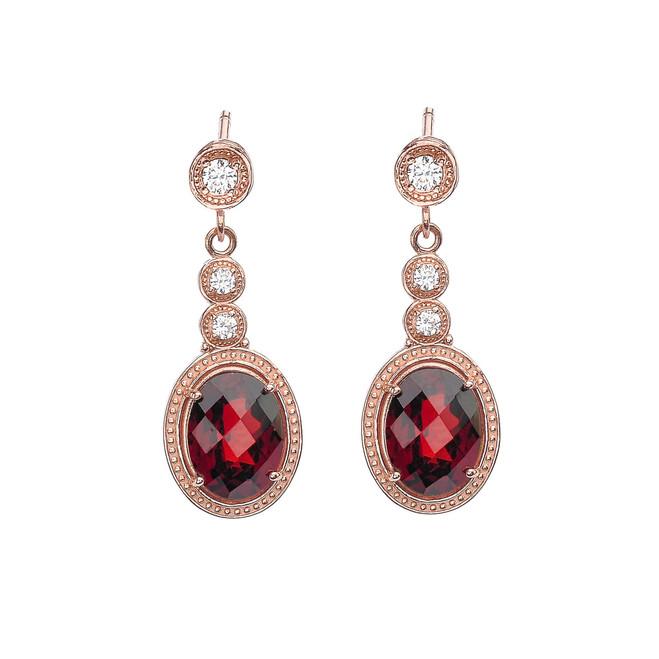 Rose Gold Diamond and Garnet Earrings