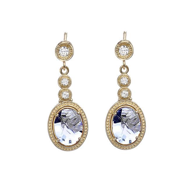 Yellow Gold Diamond and Aquamarine Earrings