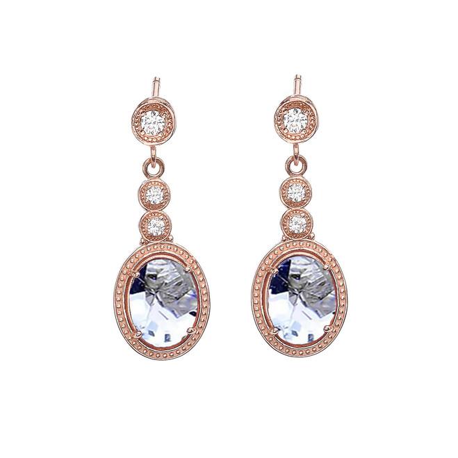Rose Gold Diamond and Aquamarine Earrings