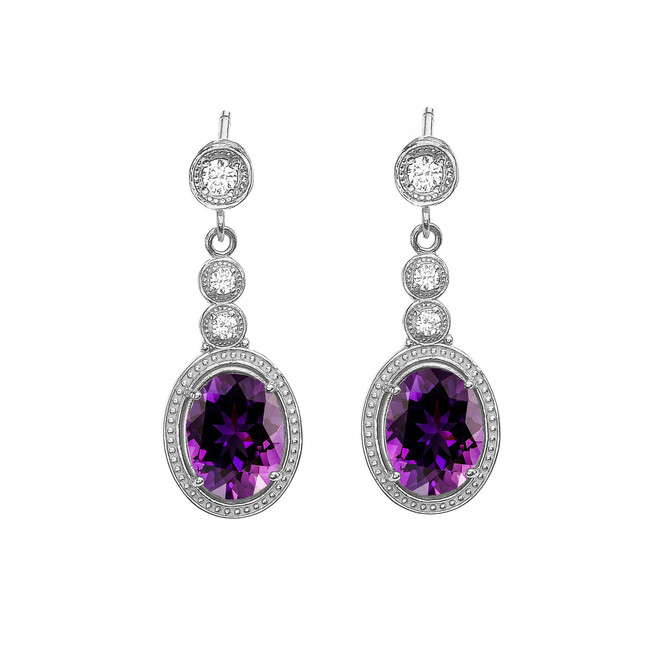 White Gold Diamond and Amethyst Earrings