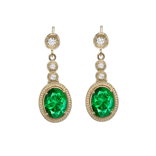Yellow Gold Diamond Earrings With May (LCE) Birthstone