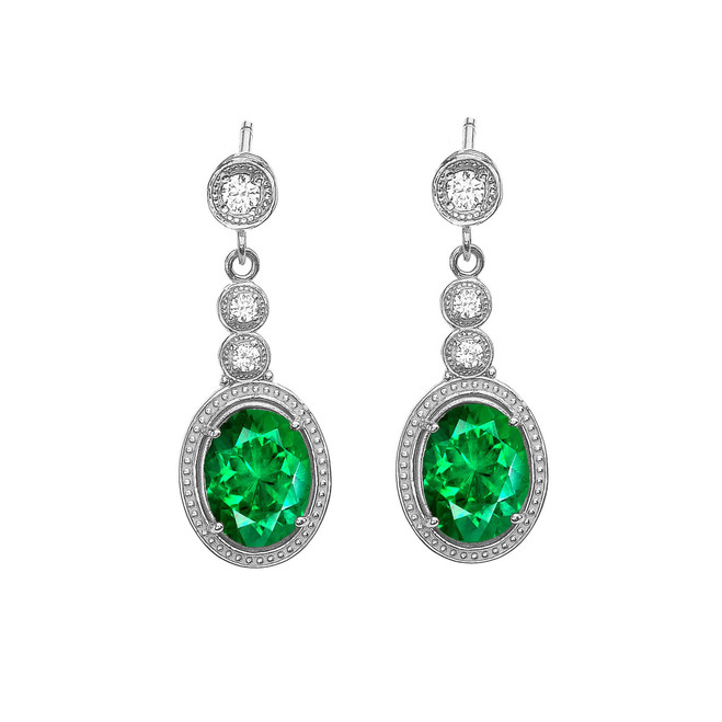 White Gold Diamond Earrings With May (LCE) Birthstone
