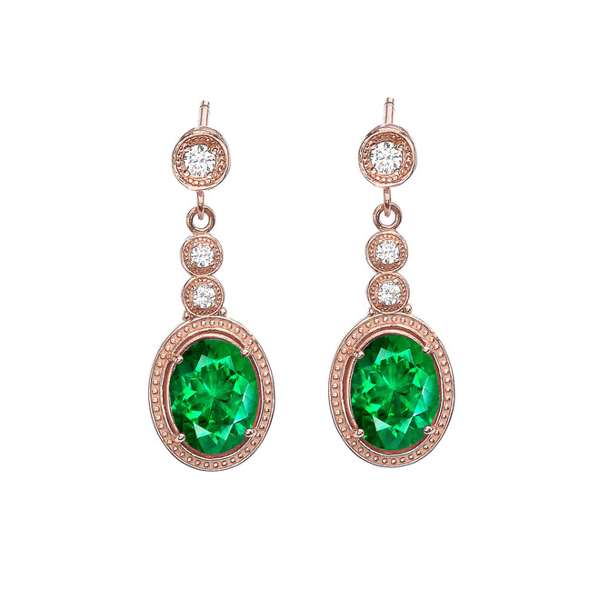 Rose Gold Diamond Earrings With May (LCE) Birthstone