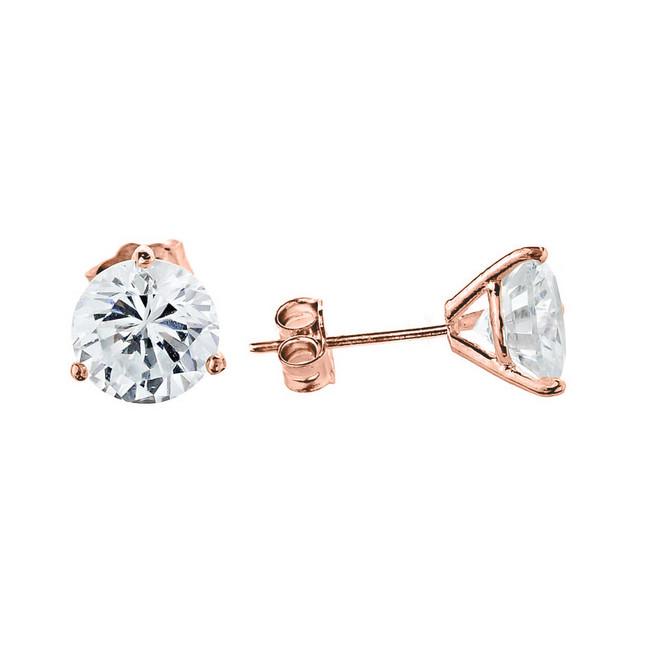 10K Rose Gold CZ Martini Stud Earrings