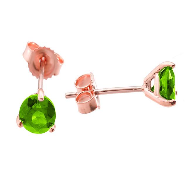 Rose Gold Peridot Martini Stud Earrings