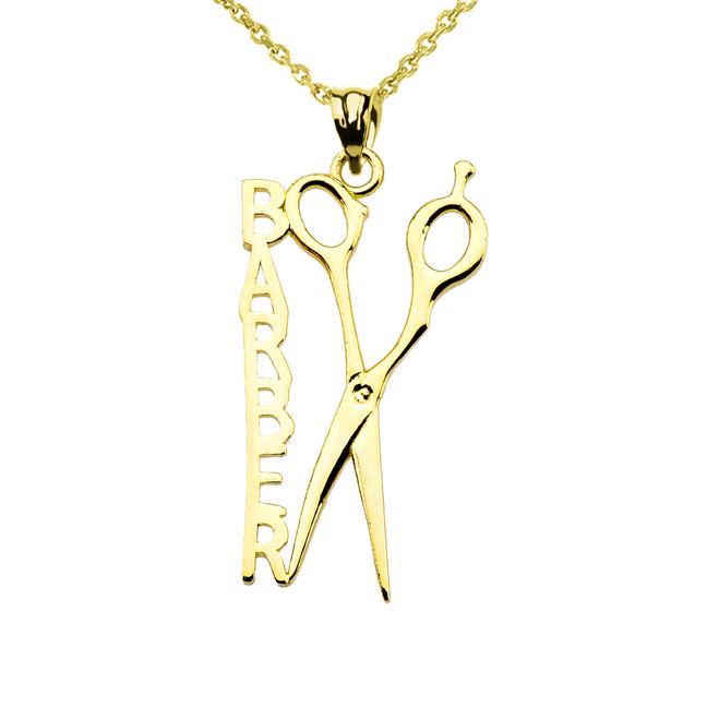 Yellow Gold Barber Hairstylist Scissors Pendant Necklace