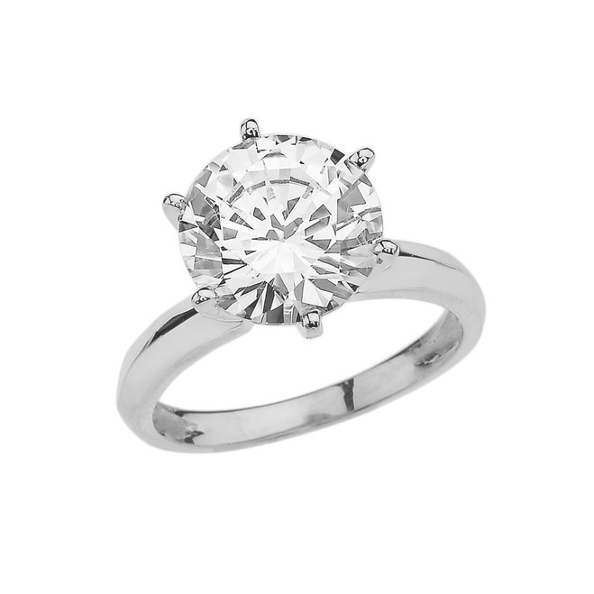 White Gold Over 7 Ct Round Solitaire Engagement/Proposal Ring