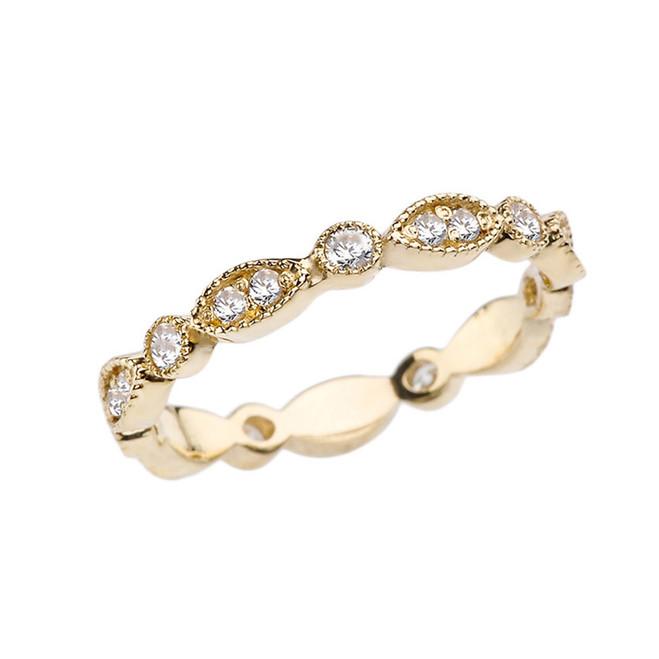 Yellow Gold Diamond Fancy Anniversary/Engagement Eternity Band
