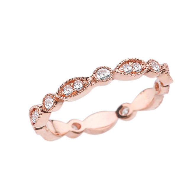 Rose Gold Diamond Fancy Anniversary/Engagement Eternity Band
