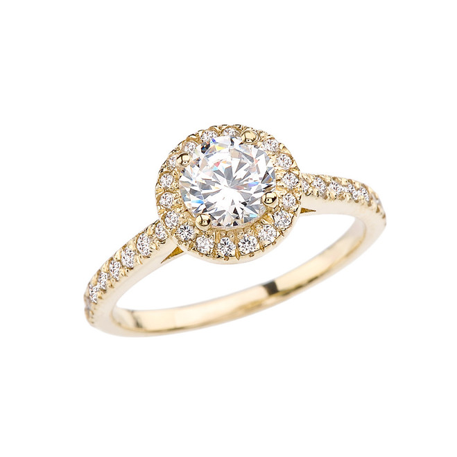 Yellow Gold Halo Engagement/Proposal Ring With Cubic Zirconia