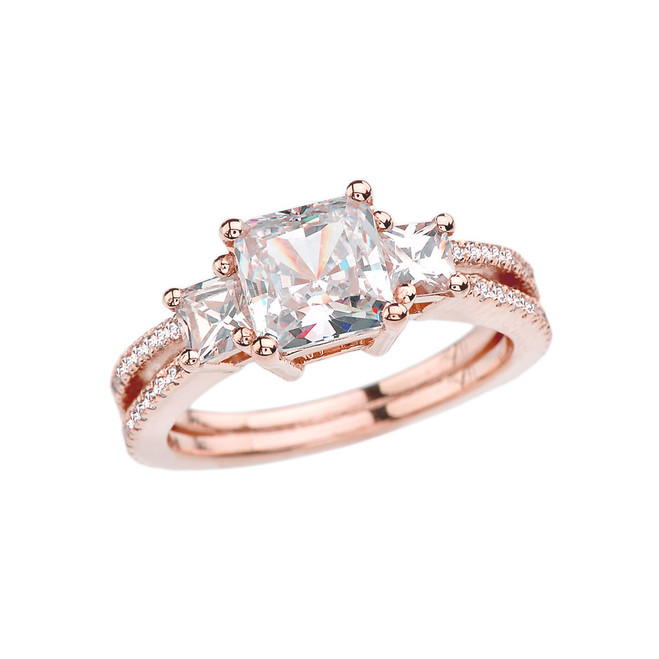 Rose Gold Double Raw Elegant Princess Cut Engagement/Proposal Ring With Over 3 Ct Princess Cut Cubic Zirconia