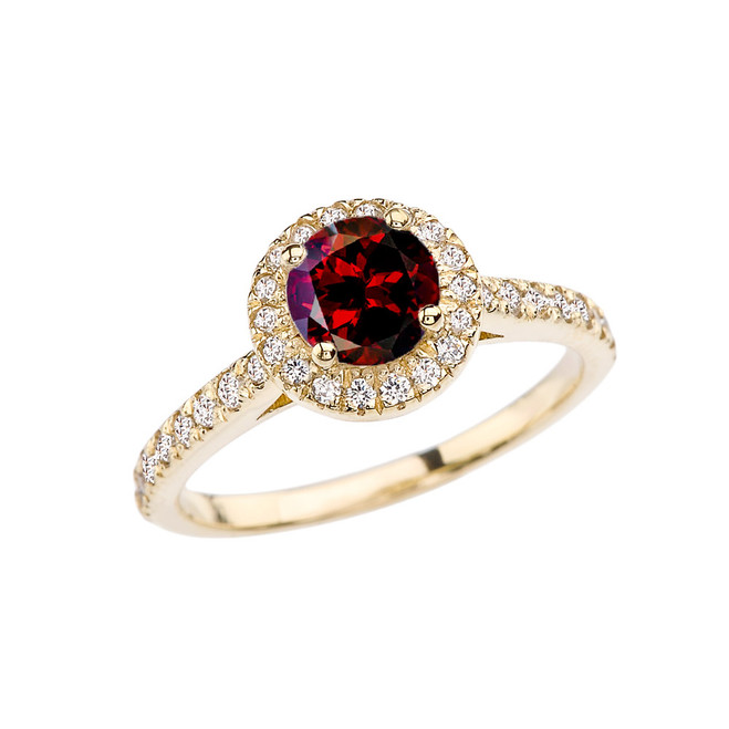 Yellow Gold Diamond and Garnet Engagement/Proposal Ring