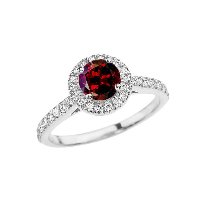 White Gold Diamond and Garnet Engagement/Proposal Ring