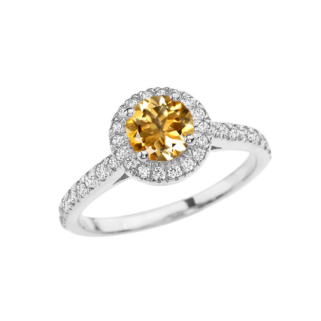 White Gold Diamond and Citrine Engagement/Proposal Ring