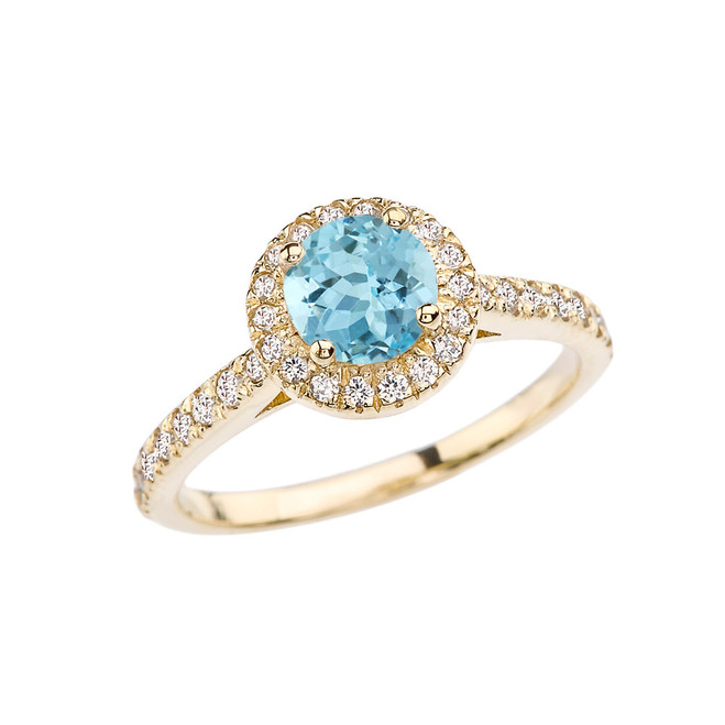Yellow Gold Diamond and Aquamarine Engagement/Proposal Ring