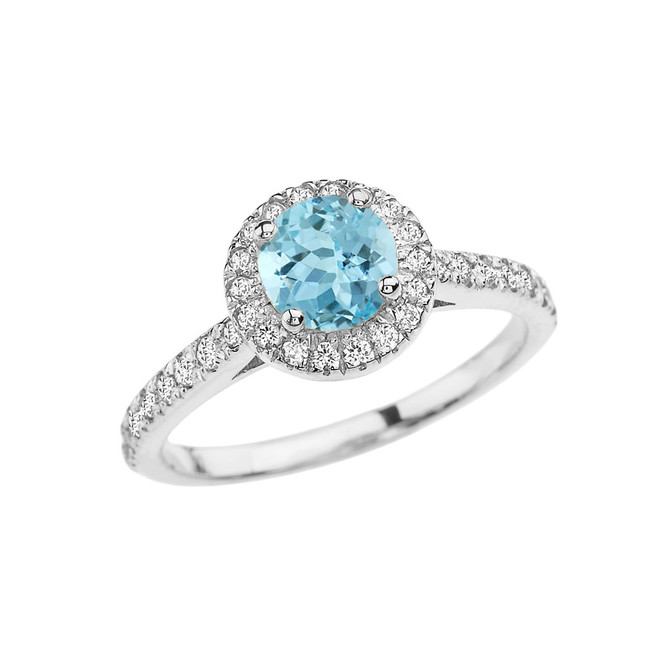 White Gold Diamond and Aquamarine Engagement/Proposal Ring