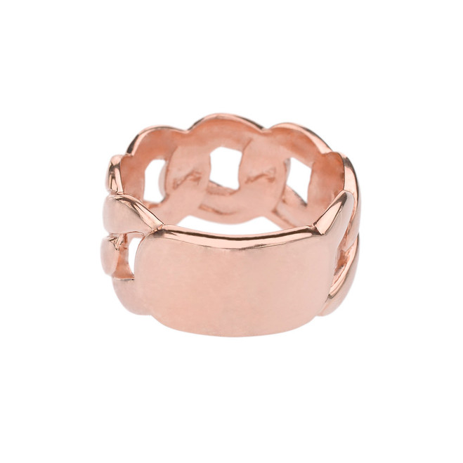 Rose Gold Personalized ID Engravable Cuban Link Band/Ring
