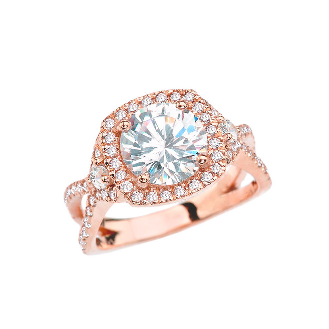 Modern Twisted Halo CZ Engagement Ring in Rose Gold