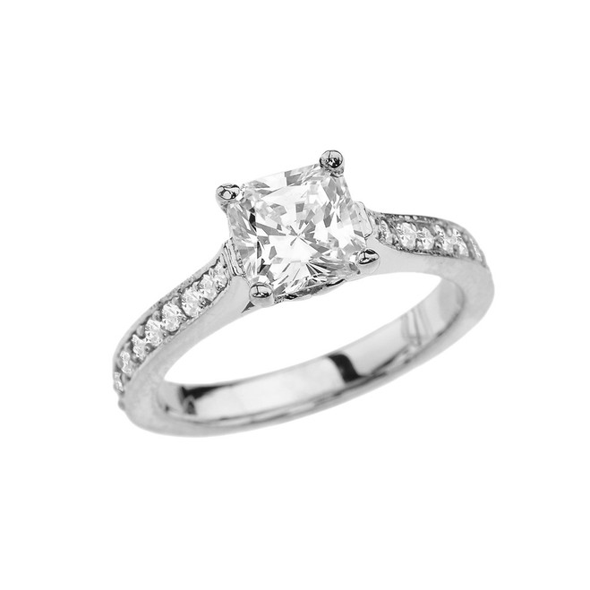 White Gold Princess Cut Diamond Engagement/Proposal Ring With Princess Cut Cubic Zirconia Center Stone