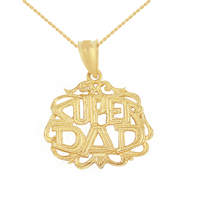 Solid Yellow Gold Super Dad Filigree Pendant Necklace