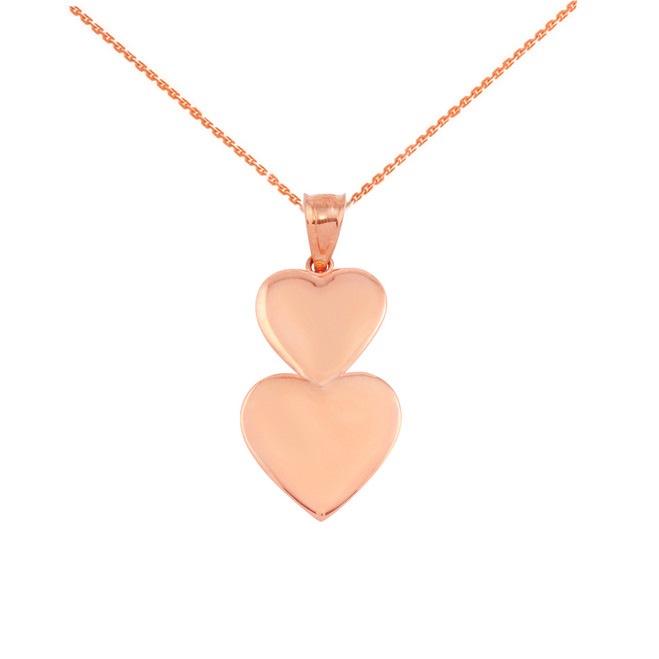 Solid Rose Gold Two Stacked Hearts Love Pendant Necklace