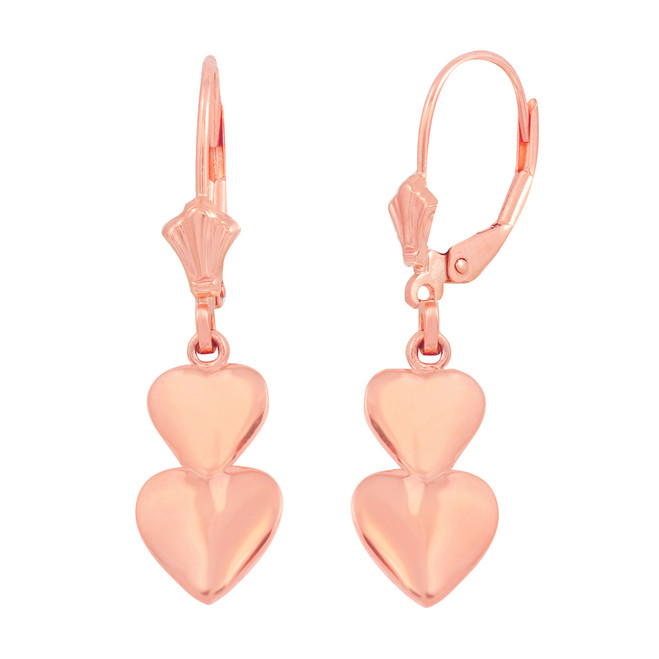 14K Rose Solid Gold Two Stacked Hearts Love Earring Set
