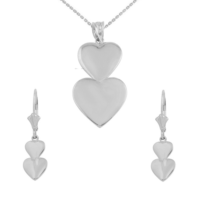 14K Solid White Gold Two Stacked Hearts Love Pendant Necklace Earring Set