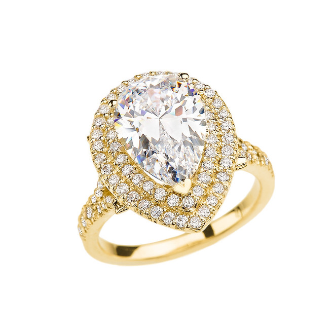 Double Raw Diamond Engagement Ring with 7 Carat Pear-Shaped CZ Center Stone in Yellow Gold