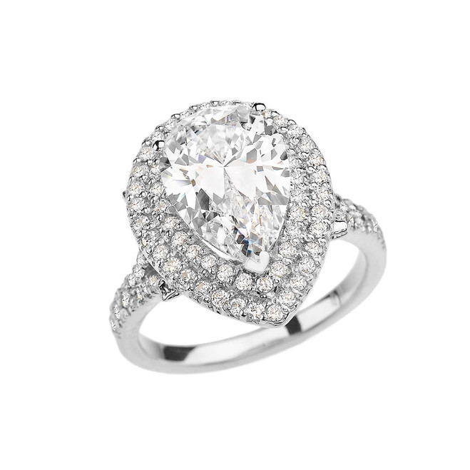 Double Raw Diamond Engagement Ring with 7 Carat Pear-Shaped CZ Center Stone in White Gold