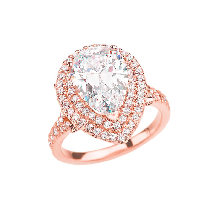 Double Raw Diamond Engagement Ring with 7 Carat Pear-Shaped CZ Center Stone in Rose Gold