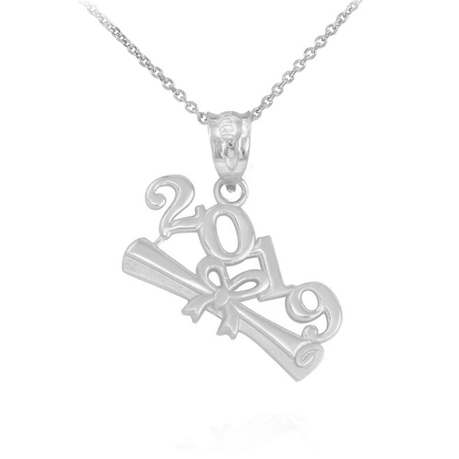 Solid White Gold Class of 2019 Graduation Pendant Necklace