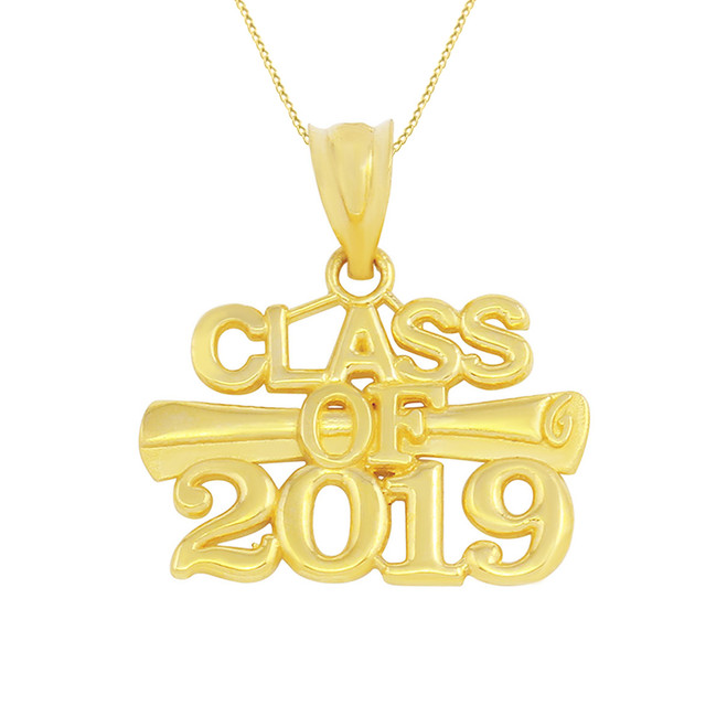Solid Yellow Gold Class of 2019 Graduation Certificate Pendant Necklace