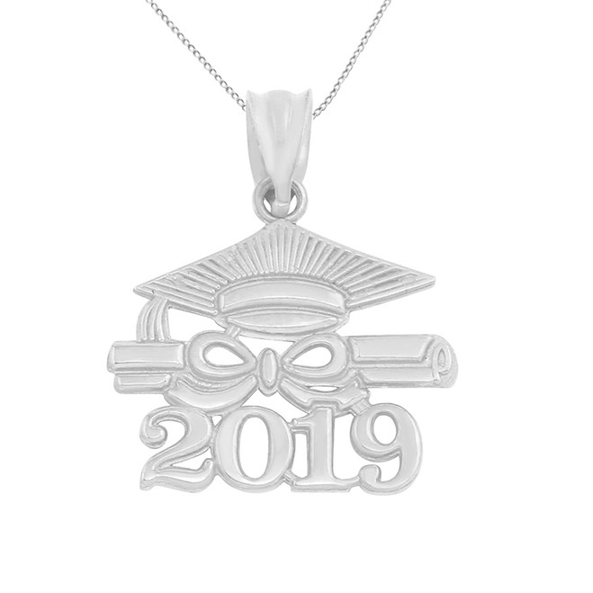 Sterling Silver Class of 2019 Graduation Diploma & Cap Pendant Necklace