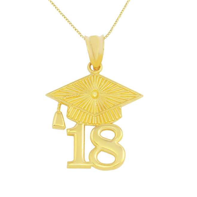 Solid Yellow Gold 2018 Graduation Cap Pendant Necklace