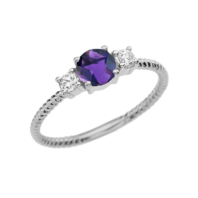 Dainty White Gold Amethyst and White Topaz Rope Design Engagement/Promise Ring