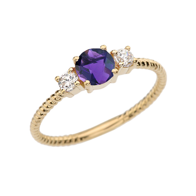 Dainty Yellow Gold Amethyst and White Topaz Rope Design Engagement/Promise Ring