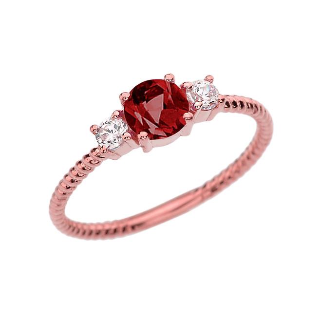 Dainty Rose Gold Garnet and White Topaz Rope Design Engagement/Promise Ring