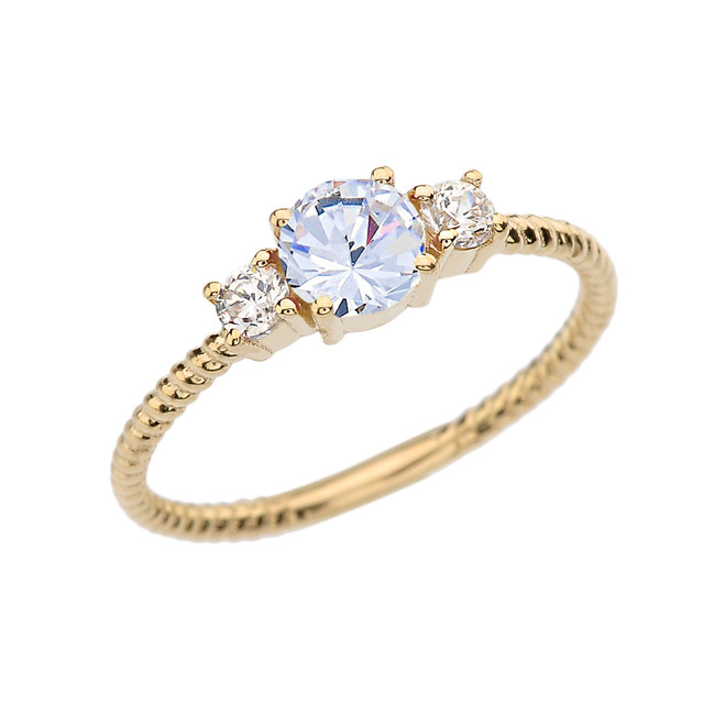 Dainty Yellow Gold White Topaz With Side Stones Rope Design Engagement/Promise Ring